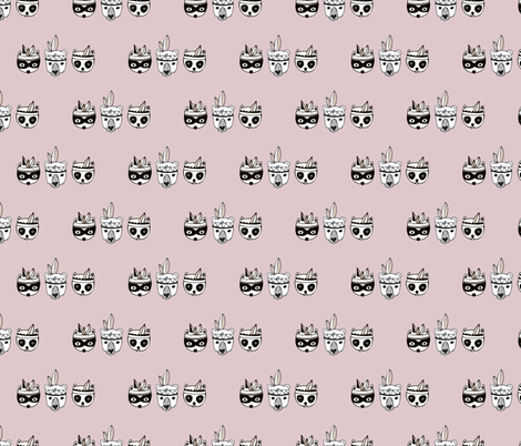 Sweet powder lilac pink indian animals baby print fabric by littlesmilemakers on Spoonflower - custom fabric