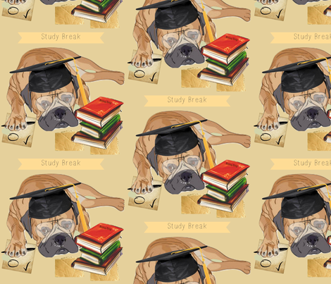 Mastiff Study Break fabric by floramoon_designs on Spoonflower - custom fabric