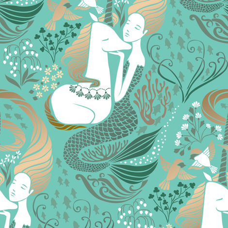 The Mermaid and the Unicorn - Adriatic fabric by ceciliamok on Spoonflower - custom fabric