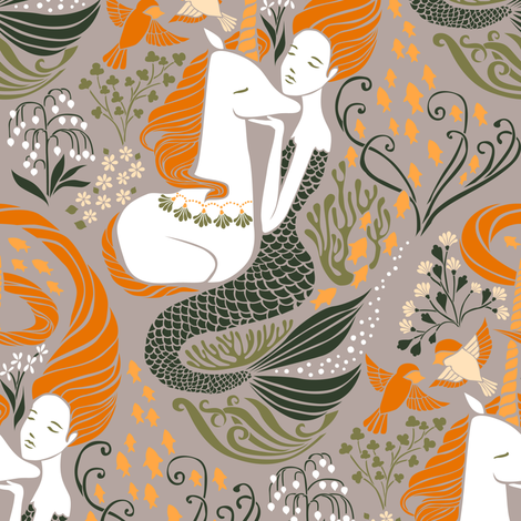 The Mermaid and the Unicorn - Atlantic fabric by ceciliamok on Spoonflower - custom fabric