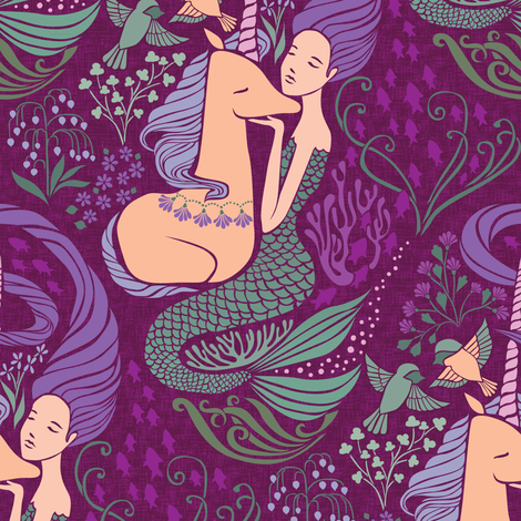 The Mermaid and the Unicorn - Levantine fabric by ceciliamok on Spoonflower - custom fabric