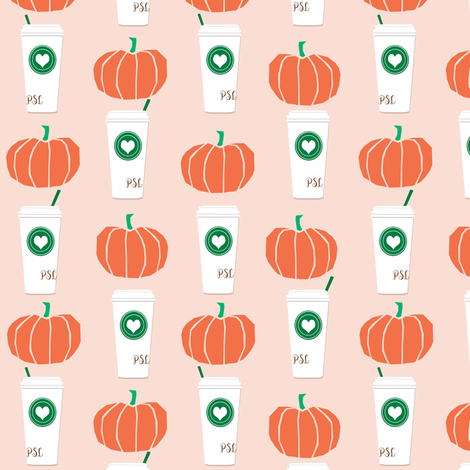 pumpkins autumn florals flower girly painted floral peach fall pumpkin spice latte fabric, autumn girls pumpkin spice, coffee, psl, pumpkin spice latte, latte, autumn, fall fabric by charlottewinter on Spoonflower - custom fabric