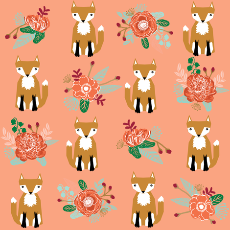 autumn fox flowers cream autumn fall girls sweet woodland fox fabric by charlottewinter on Spoonflower - custom fabric
