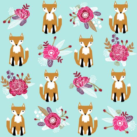 autumn fox flowers cream autumn fall girls sweet woodland fox fabric by charlottewinter on Spoonflower - custom fabric