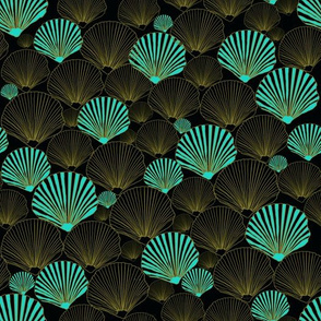 One in a Million  teal Sea Shells on black by Salzanos