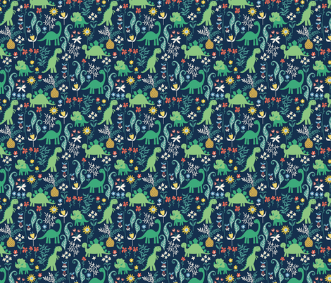 dino garden 2 fabric by laura_may_designs on Spoonflower - custom fabric