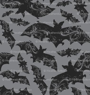 Night Flight - Gothic Halloween Bats Grey