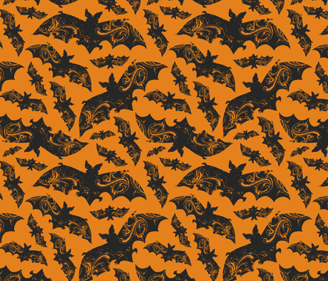 Night Flight - Gothic Halloween Bats Orange fabric by heatherdutton on Spoonflower - custom fabric