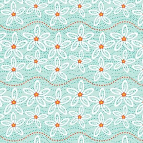Swimming Stars - Starfish Floral Aqua
