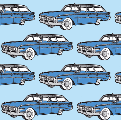 1960 Edsel Villager station wagon  in blue fabric by edsel2084 on Spoonflower - custom fabric