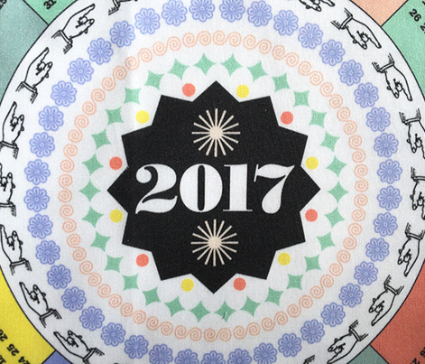 2017 Circle Tea Towel Calendar* || circular mayan holidays numbers typography star starburst cut and sew diy kitchen