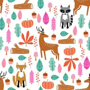autumn fall woodland cute animals fox deer raccoon leaves logs