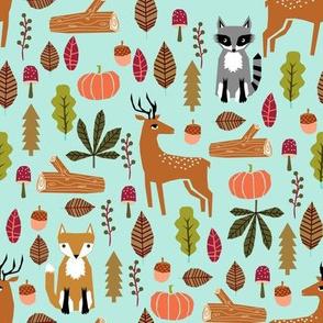 autumn fall woodland cute animals fox deer raccoon leaves logs