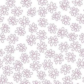 Gerberas in Old Rose - Tiny Floral Outlines in Old Rose