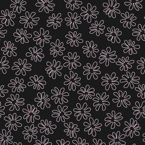 Gerberas in Old Rose - Tiny Floral Outlines in Light Rose