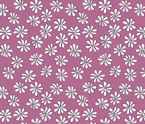 Gerberas in Old Rose - Small Florals in White fabric by sharks_and_bunnies on Spoonflower - custom fabric