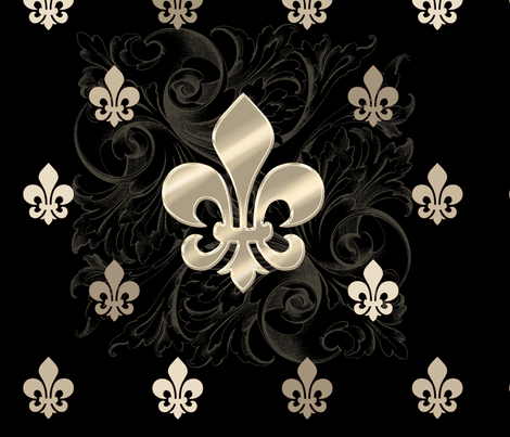 Fleur De Lys-Black & Gold fabric by sssowers on Spoonflower - custom fabric