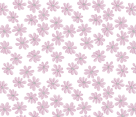 Gerberas in Old Rose - Small Florals in Light Rose fabric by sharks_and_bunnies on Spoonflower - custom fabric
