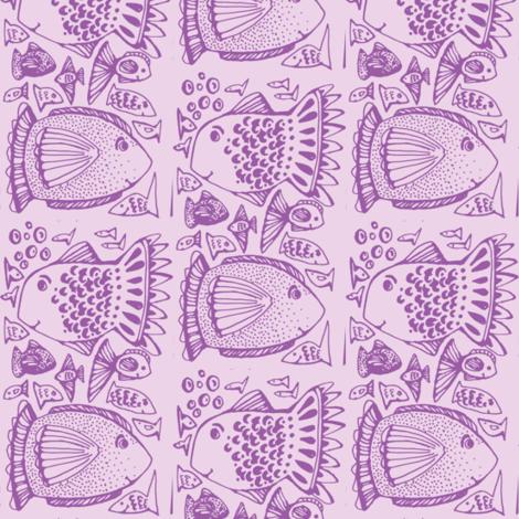 Fishy in violet fabric by fallingladies on Spoonflower - custom fabric