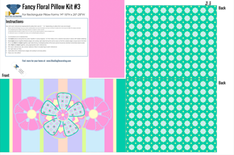 Fancy Floral Pillow Kit in Stripe fabric by blue_dog_decorating on Spoonflower - custom fabric