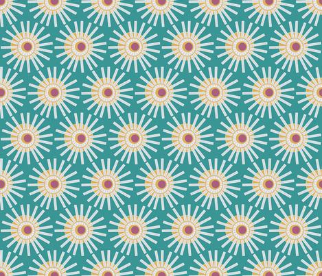 Green Harvest Sun fabric by dearchickie on Spoonflower - custom fabric