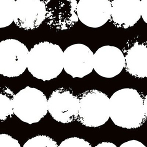 Circles and rows cool Scandinavian style dots brush strings gender neutral black and white XL