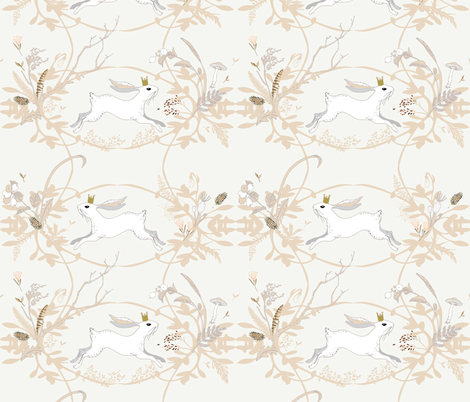 Bunny Prince Damask (china white) fabric by nouveau_bohemian on Spoonflower - custom fabric