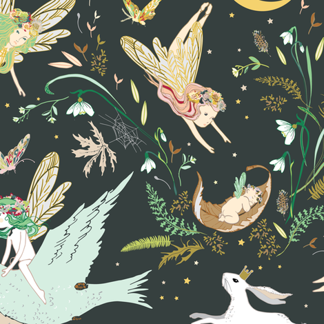 Enchanted Fairies (pine) fabric by nouveau_bohemian on Spoonflower - custom fabric