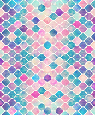 Rainbow Pastel Watercolor Moroccan Pattern horizontal format