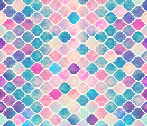 Rainbow Pastel Watercolor Moroccan Pattern horizontal format fabric by micklyn on Spoonflower - custom fabric