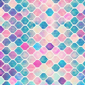 Rainbow Pastel Watercolor Moroccan Pattern horizontal format