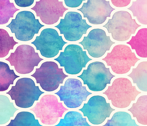 Rainbow Pastel Watercolor Moroccan Pattern Large