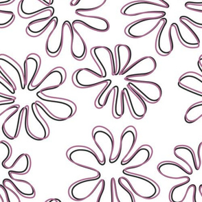 Gerberas in Old Rose - Big Floral Outlines