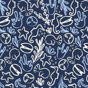 Sea creatures in blue