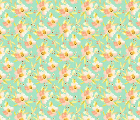 Mint and Orange Watercolor Floral fabric by angiemakes on Spoonflower - custom fabric