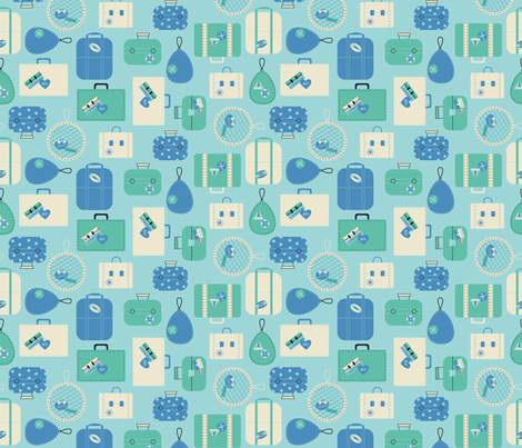 Luggage- Blue fabric by mintgreensewingmachine on Spoonflower - custom fabric