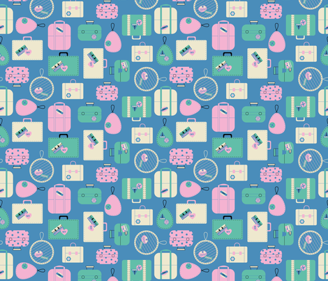 Luggage- Pink fabric by mintgreensewingmachine on Spoonflower - custom fabric