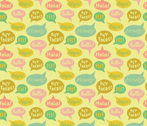 Speech Bubbles- Yellow fabric by mintgreensewingmachine on Spoonflower - custom fabric
