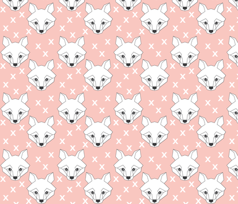 Geometric white fox on pink fabric by lilcubby on Spoonflower - custom fabric