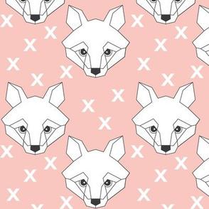 Geometric white fox on pink