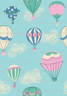 Hot Air Balloons- Blue