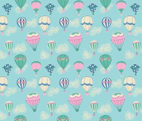 Hot Air Balloons- Blue fabric by mintgreensewingmachine on Spoonflower - custom fabric