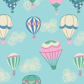 Hot Air Balloons- Blue