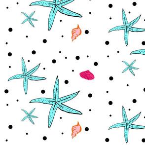 shells and polka dots LARGE - tropical