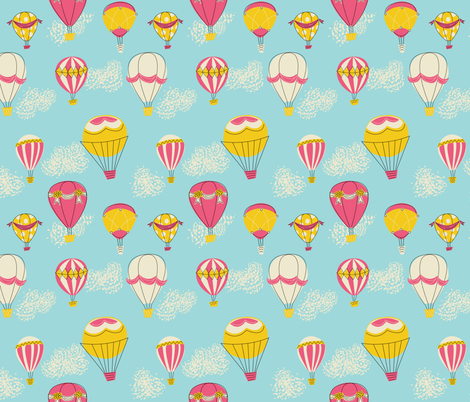 Hot Air Balloons- Red fabric by mintgreensewingmachine on Spoonflower - custom fabric