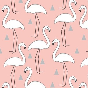 White Flamingos on Soft Pink