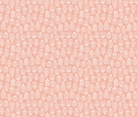 Bird Cages- Pink fabric by mintgreensewingmachine on Spoonflower - custom fabric