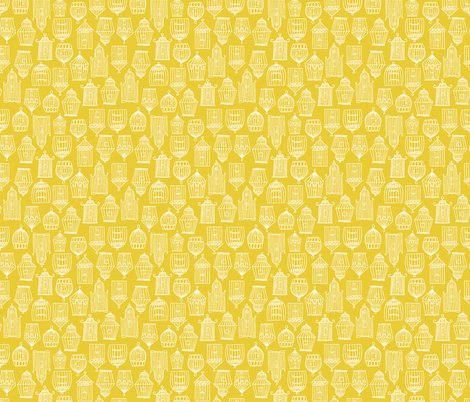 Bird Cages- Yellow fabric by mintgreensewingmachine on Spoonflower - custom fabric