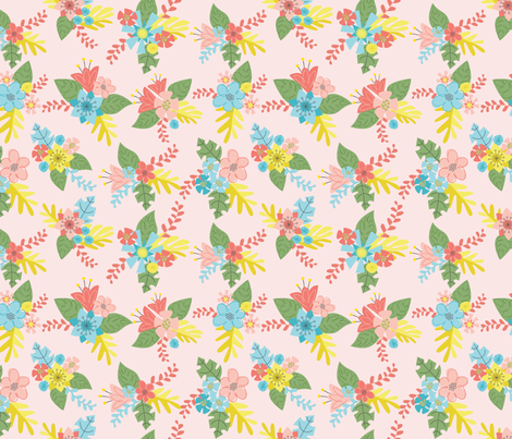 Flower Bunch- Pink fabric by mintgreensewingmachine on Spoonflower - custom fabric
