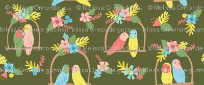 Flower Birds- Green